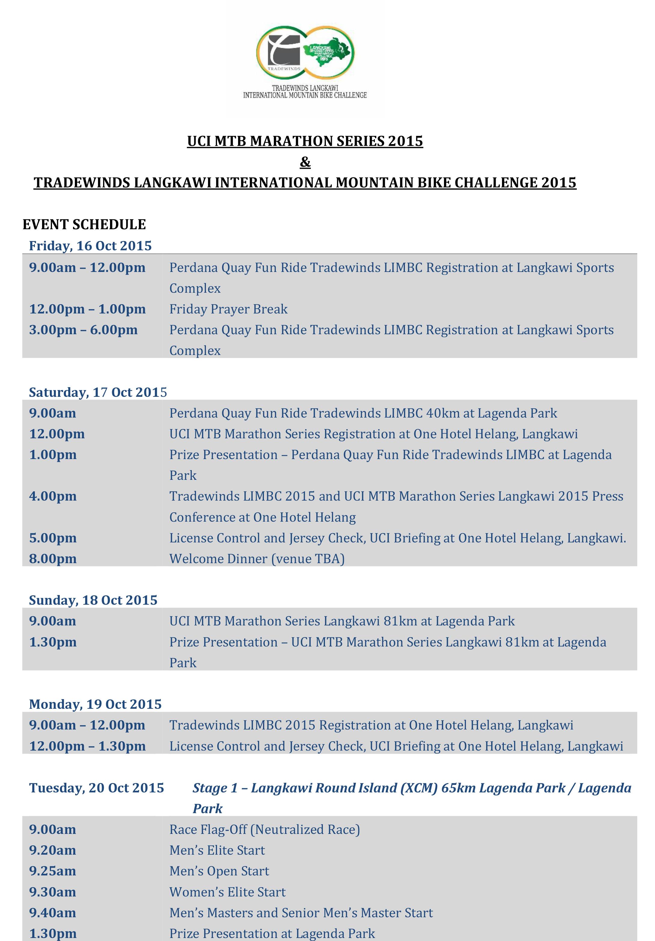 event schedule 1