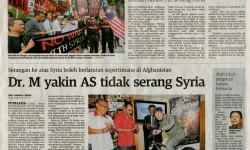 Utusan Malaysia – 5 September 2013 – Dr. M yakin AS tidak serang Syria
